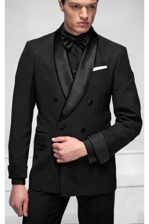 Черный темный костюм классика G185