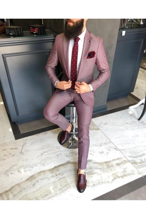 Пурпурный деловой костюм однобортный G37
