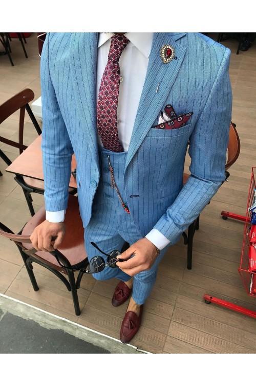 Светлый голубой костюм G135