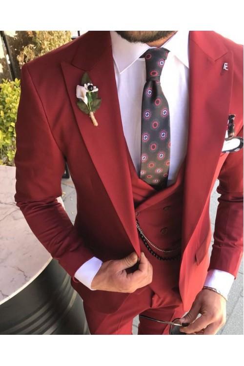 Красный яркий костюм жениха G136