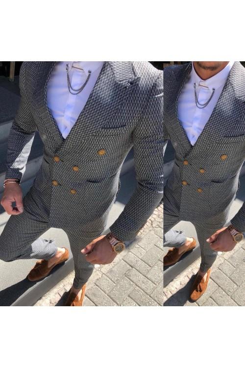 Двубортный костюм серый G138