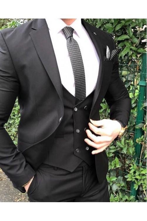 Тройка черный классический костюм G140