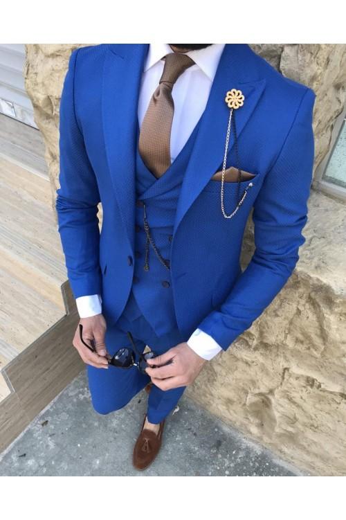 Стильный мужской синий костюм G142