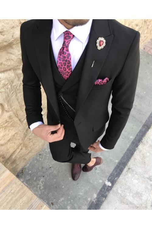Элегантный свадебный черный костюм G143