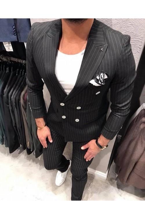 Полосатый черный костюм G146