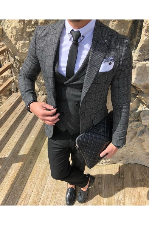 Строгий серый костюм G153