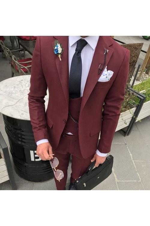 Бордовый строгий костюм мужской G156