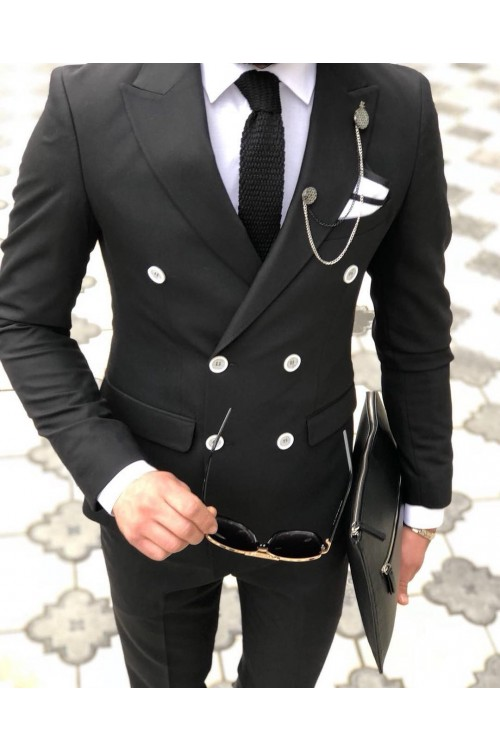Двубортный черный костюм G157