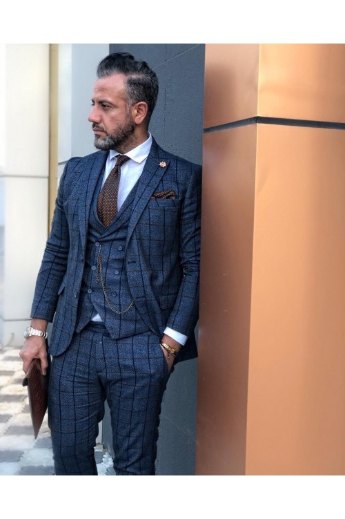 Синий элегантный классический костюм G117